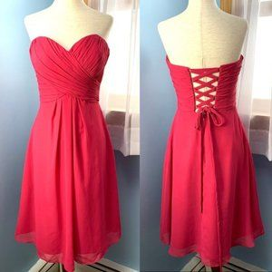 Bill Levkoff Pink Strapless Dress With Back Lacing